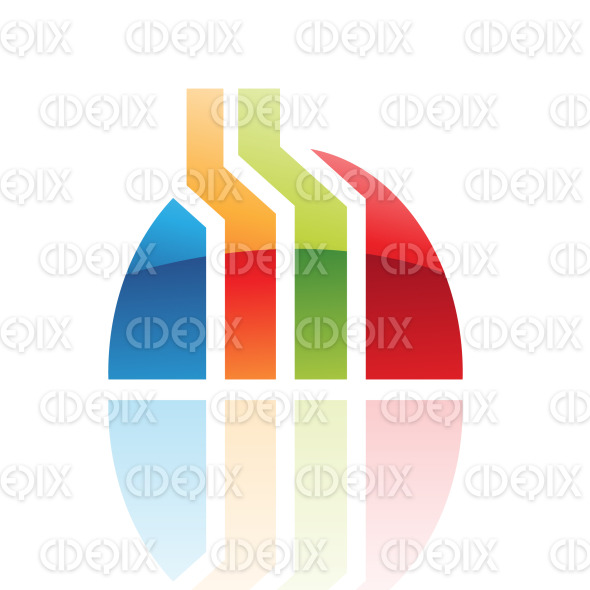 abstract glossy retro factory shape logo icon stock illustration