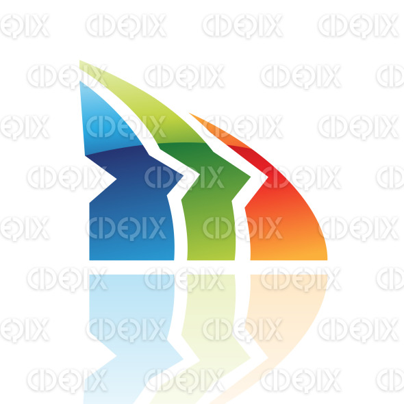 abstract colorful glossy retro shark fin logo icon stock illustration