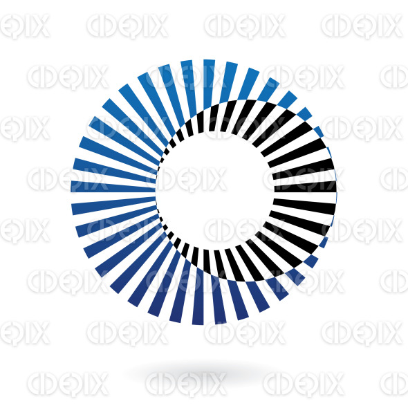 abstract black and blue nested circles logo icon stock illustration