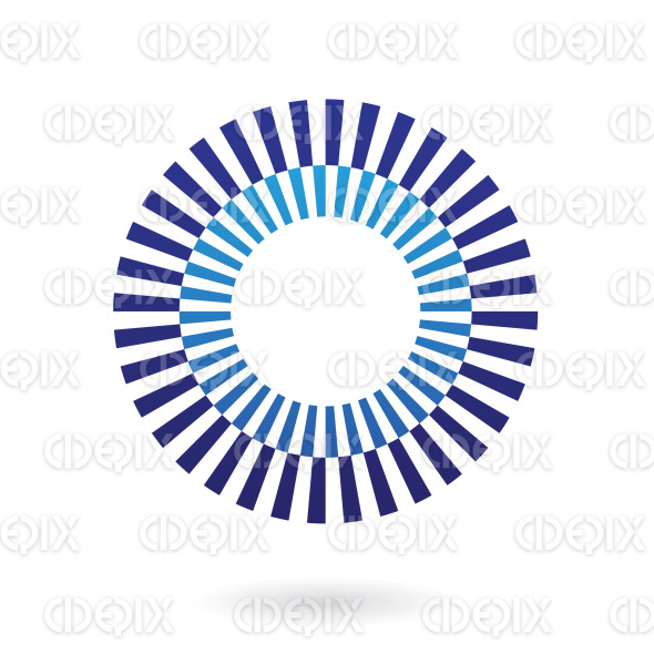 abstract blue lines, nested circles logo icon stock illustration