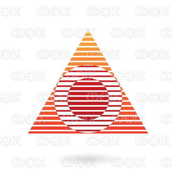 abstract red, orange lines circle and triangle logo icon stock illustration