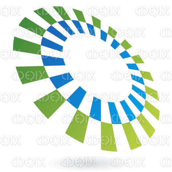 abstract green and blue revolving rectangulars circle logo icon stock illustration
