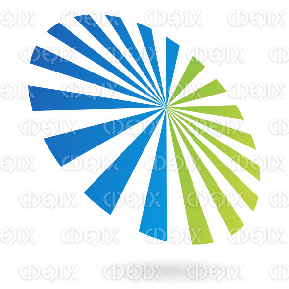 blue and green abstract revolving circus lines logo icon stock illustration
