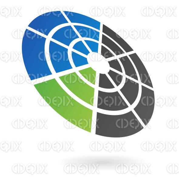 blue, black and green abstract radar circle logo icon stock illustration