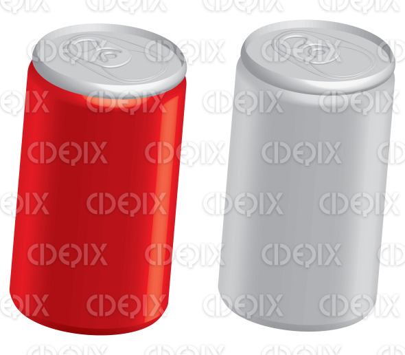 red and grey blank soft drink and cola cans stock illustration