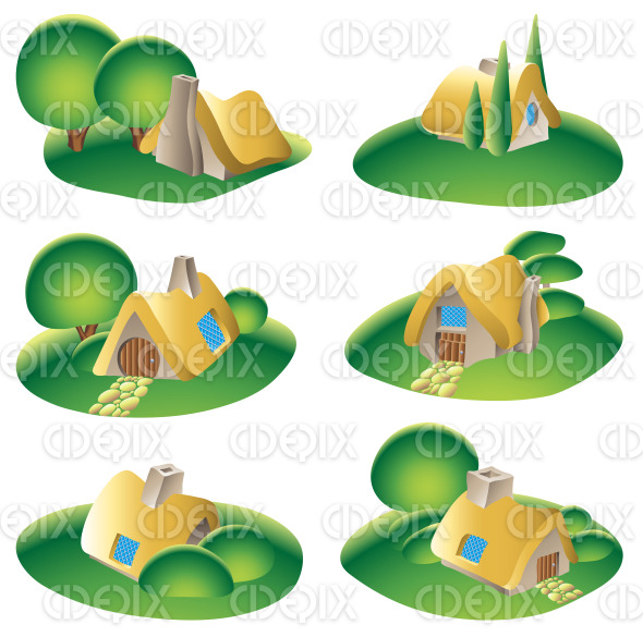 fairy tale fantasy country homes stock illustration