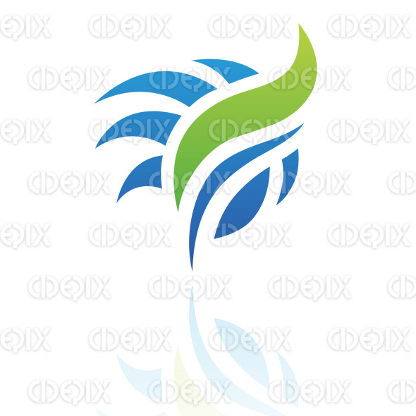 abstract blue and green windy grass logo icon stock illustration