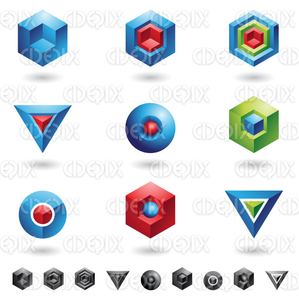 geometric 3d spheres, cubes, triangles and hexagons stock illustration