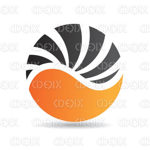 abstract black and orange round shell logo icon stock illustration