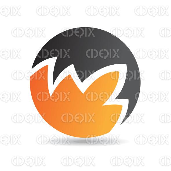 abstract black and orange random lines round logo icon stock illustration