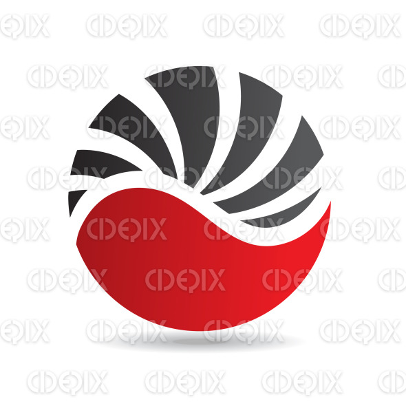 abstract black and red round shell logo icon stock illustration