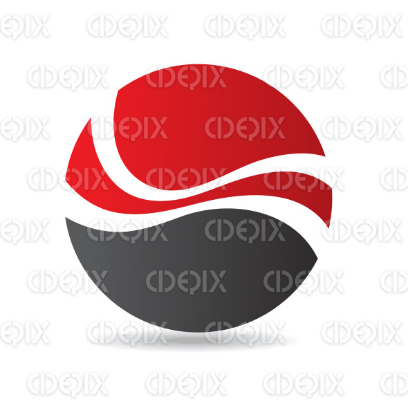 abstract black and red waves round logo icon stock illustration