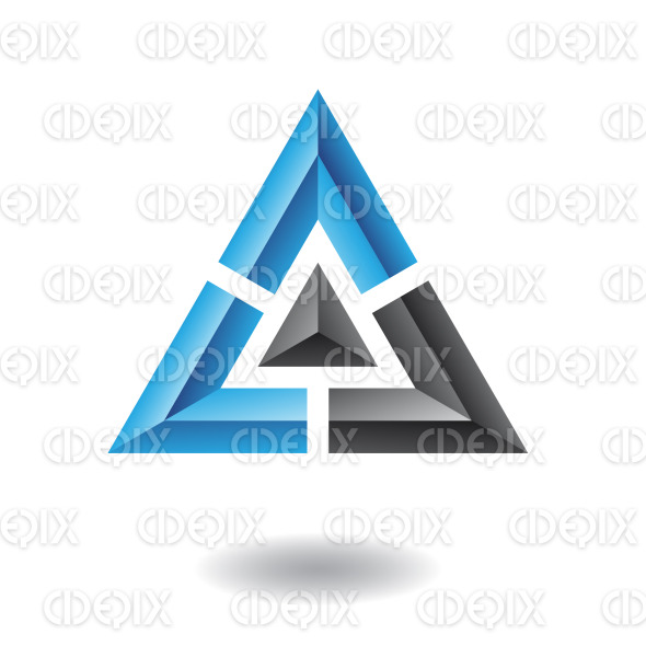 abstract blue and black embossed pyramid, triangle logo icon stock illustration