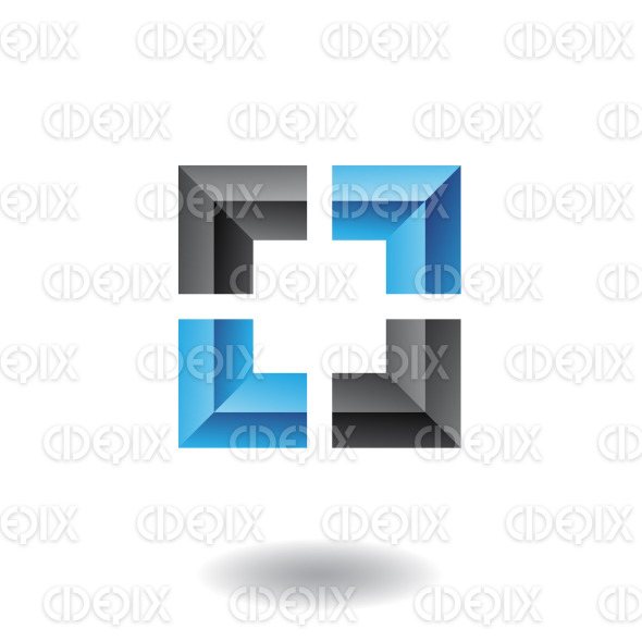 black and blue abstract embossed square logo icon stock illustration