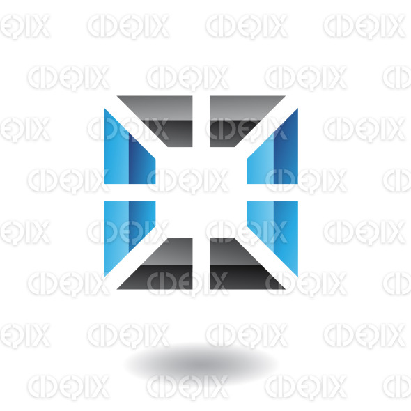 3d abstract black and blue embossed square logo icon stock illustration