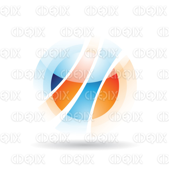 abstract blue and orange sphere logo icon with fake transparency stock illustration