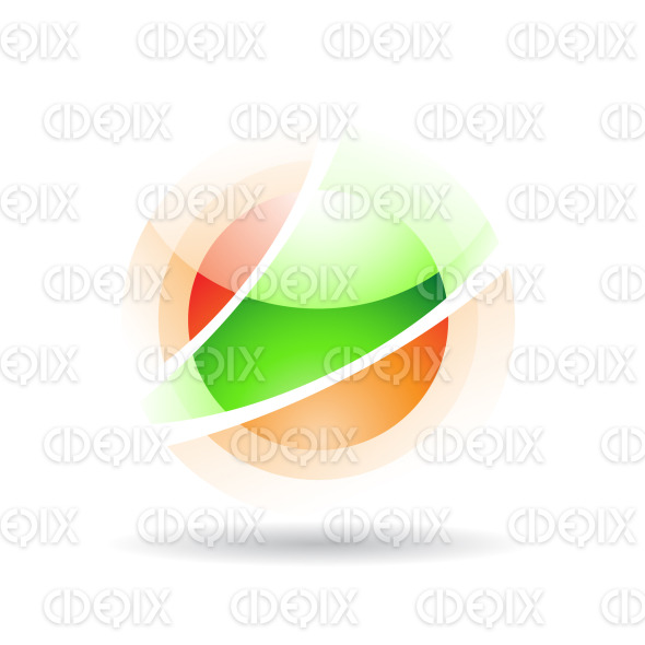 abstract orange and green sphere logo icon with fake transparency stock illustration