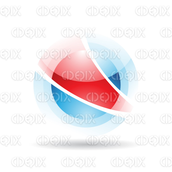 abstract red and blue sphere logo icon with fake transparency stock illustration