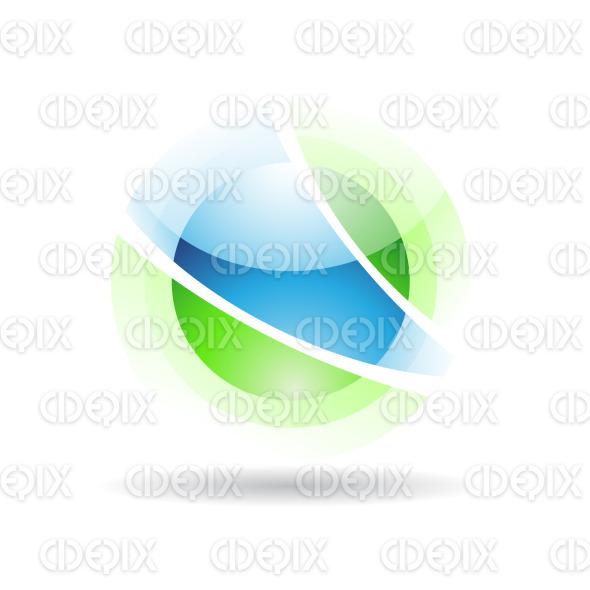 abstract green and blue sphere logo icon with fake transparency stock illustration