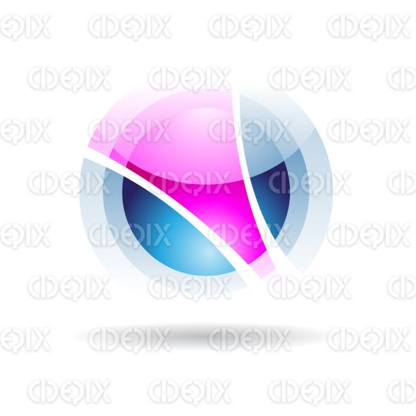abstract purple and blue sphere logo icon with fake transparency stock illustration