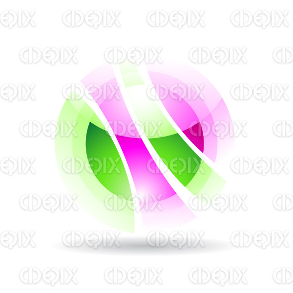 abstract purple and green sphere logo icon with fake transparency stock illustration