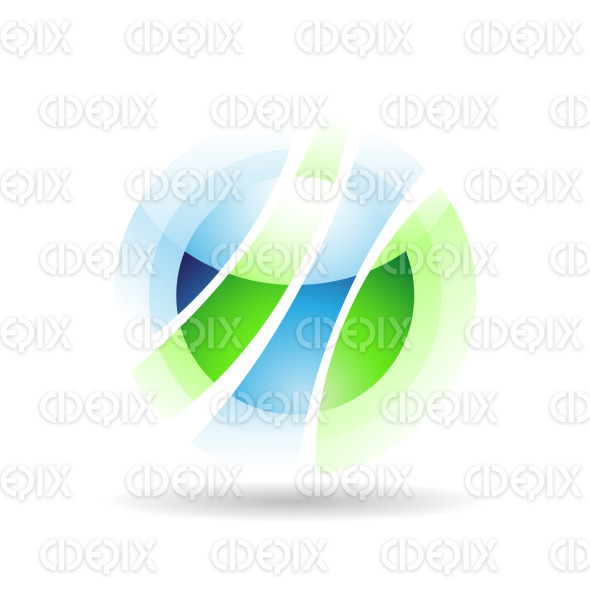 abstract green and blue vibrant sphere logo icon with fake transparency stock illustration