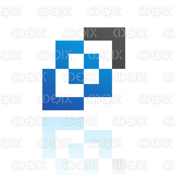abstract black and blue nested squares logo icon stock illustration