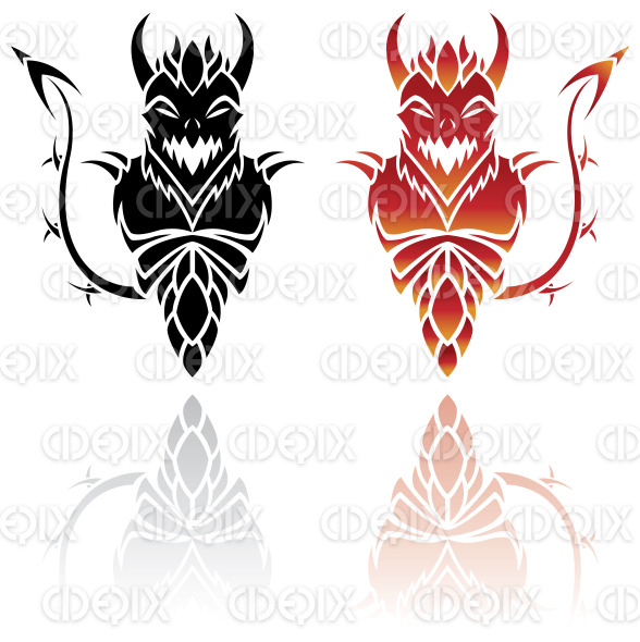 red and black tattoo like devil designs stock illustration