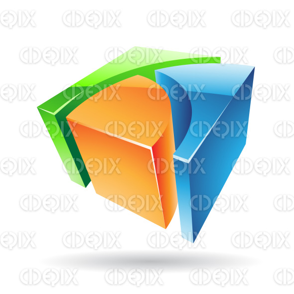 abstract green, blue and orange 3d glossy metallic cube logo icon stock illustration