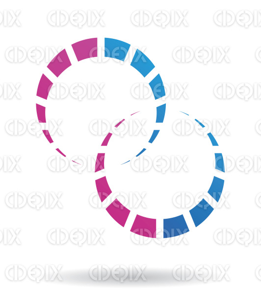 abstract purple and blue dotted crescent cogs logo icon stock illustration