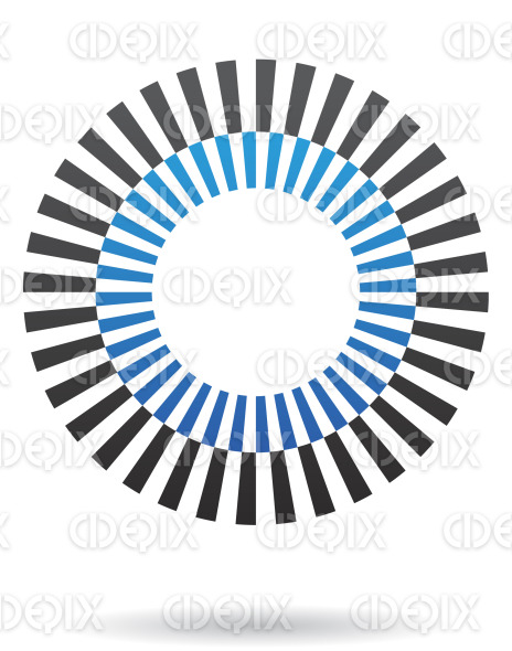 abstract blue and black rectangular lines circle logo icon stock illustration