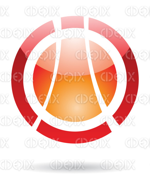 abstract red and orange glossy orbit logo icon stock illustration