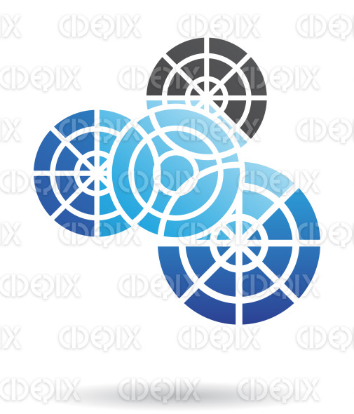 abstract blue and black nested cogs logo icon stock illustration