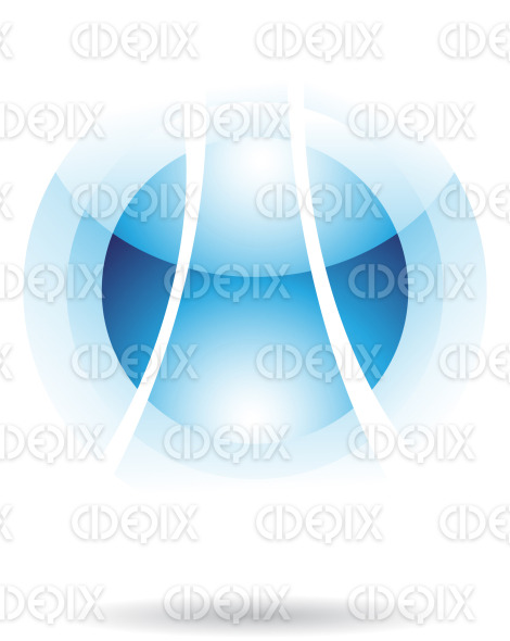 abstract blue glossy sphere logo icon with fake transparency stock illustration