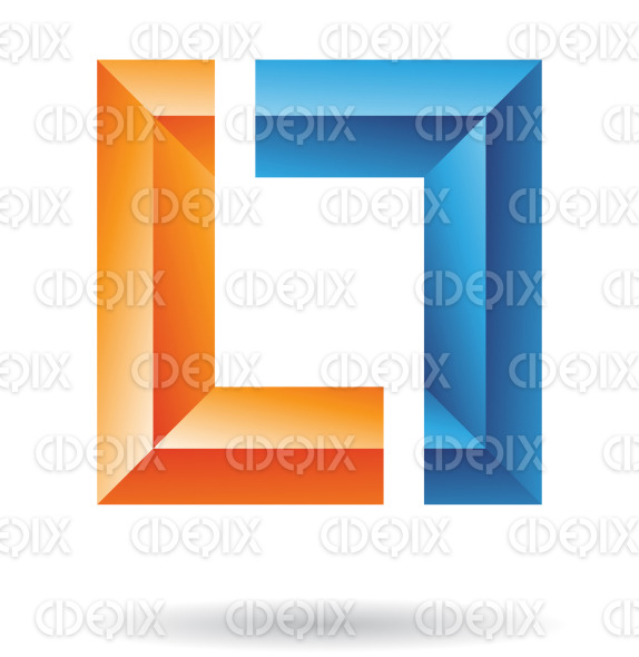 abstract blue and orange embossed square icon stock illustration