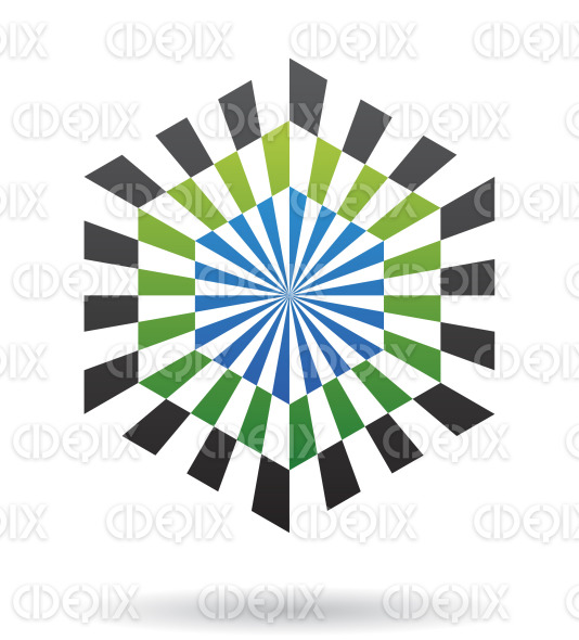 abstract blue, black and green illusion hexagon logo icon stock illustration