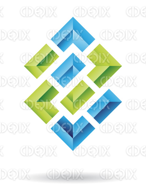 abstract blue and green embossed chain squares logo icon stock illustration