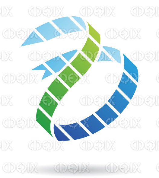 abstract blue and green arrow snake logo icon stock illustration