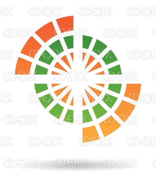 abstract green and orange round web logo icon stock illustration
