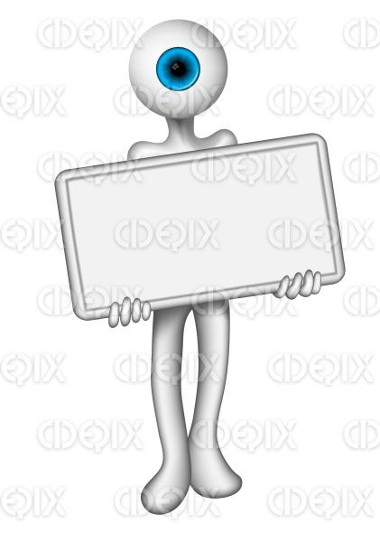 blue eye head man holding a white blank sign stock illustration