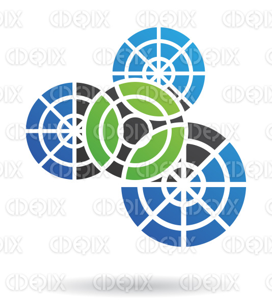 abstract green, black and blue nested cogs and gears logo icon stock illustration