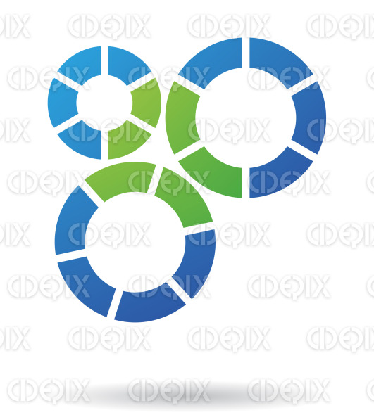 abstract green and blue cogs and gears logo icon stock illustration