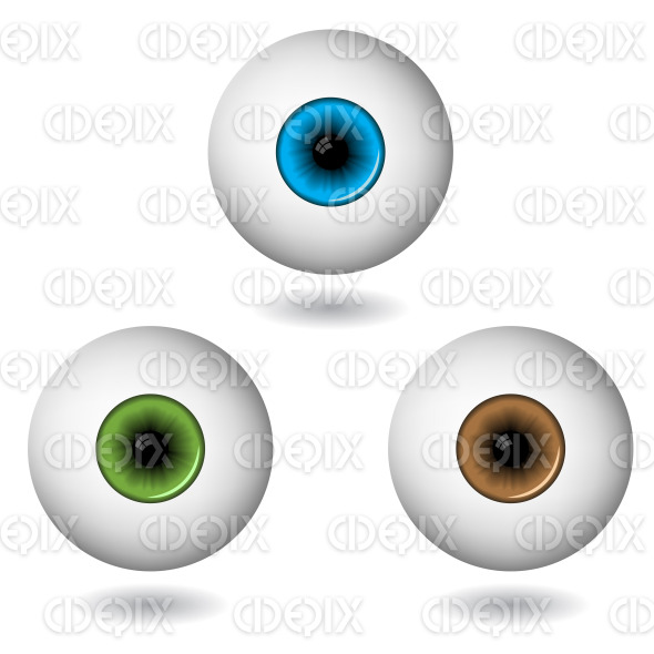 blue, green, brown eyes with eye balls stock illustration