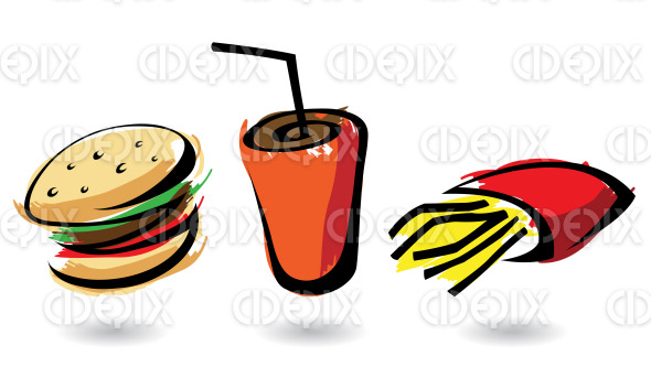 line art cartoon fast food icons with burger, fries and soft drink stock illustration