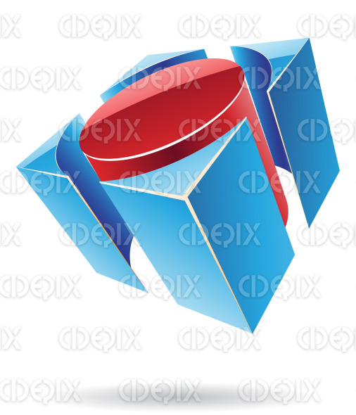 abstract red and blue 3d glossy cylindrical cube logo icon stock illustration