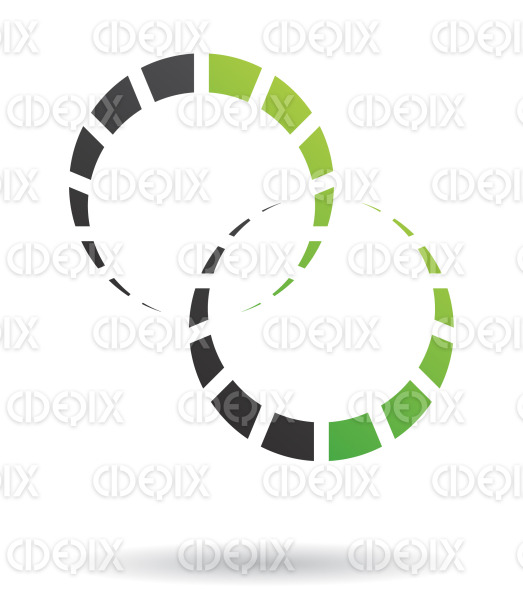 abstract green and black crescent cogs and gears logo icon stock illustration