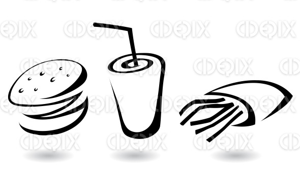 black and white fast food icons with burger, fries and soft drink stock illustration