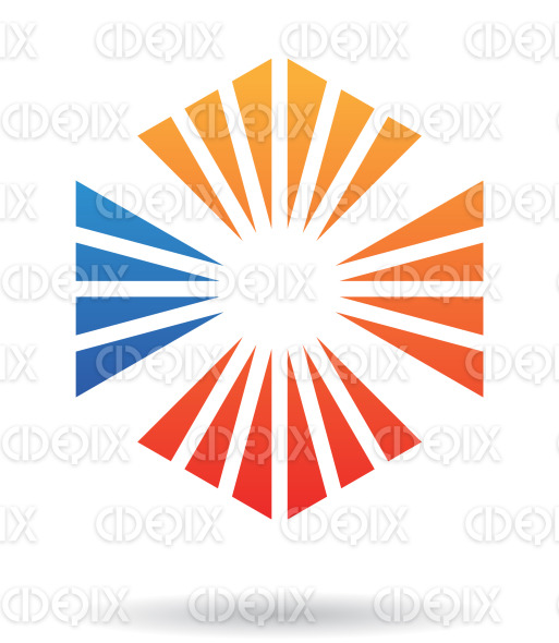 abstract orange and blue triangle hexagon logo icon stock illustration