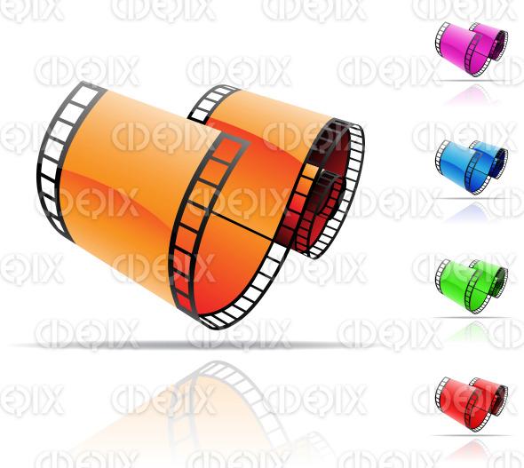 orange, green, blue, red, purple glossy film reels stock illustration