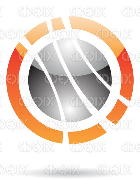 abstract orange and black glossy planet orbit logo icon stock illustration